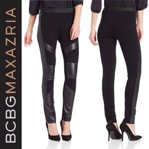 BCBGMAXAZRIA Bayle Color Blocked Leather Leggings